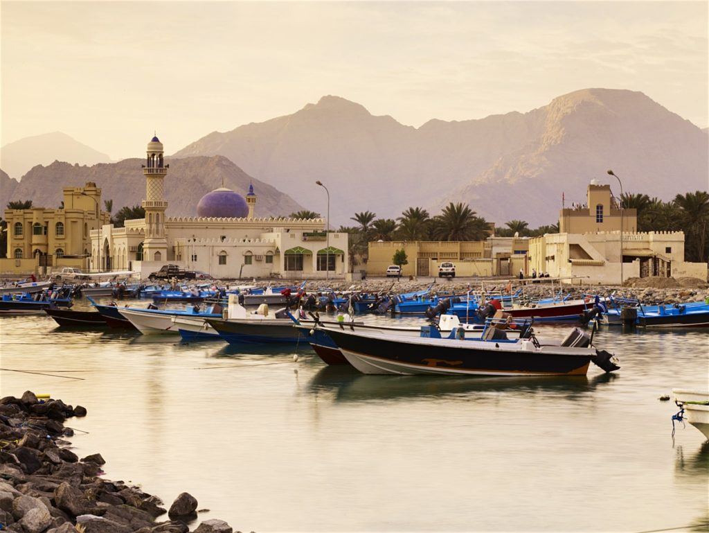 the harbor of omani fishing boats